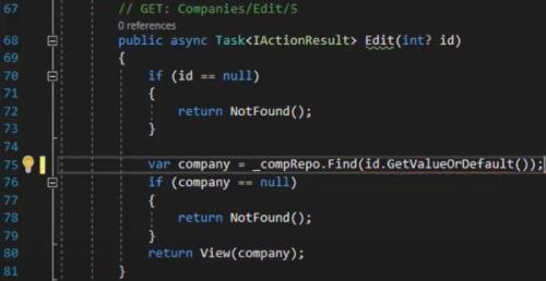 کدهای مربوط به متد GET Edit در کنترلر Companies | آموزش Dapper