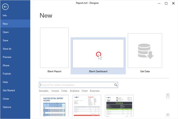 ایجاد یک داشبورد جدید در صفحه خوشامدگویی برنامه طراحی گزارش استیمول سافت | آموزش استیمول سافت
