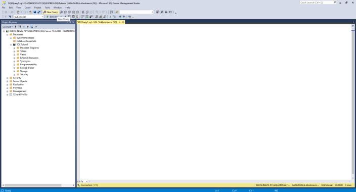آموزش SQL Server Management Studio | ایجاد جدول با استفاده از کوئری در SSMS