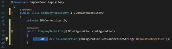انجام تغییرات لازم برای دریافت یک اتصال پایگاه داده جدید در آموزش Dapper