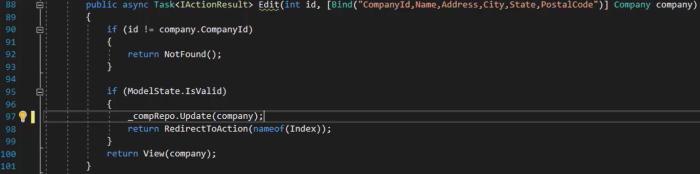 تغییر کدهای مربوط به به روزرسانی Edit Post در کنترلر Companies | آموزش Dapper