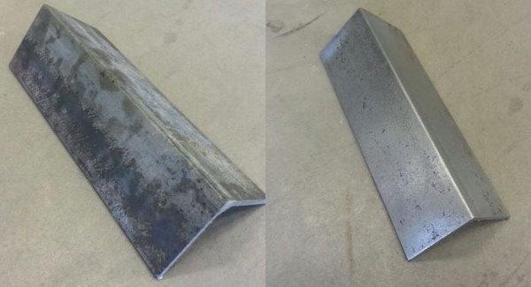 تمیزکاری نبشی فلزی با سندبلاست