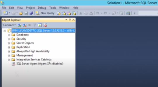 نمای پنجره Object Explorer در آموزش SQL Server Management Studio
