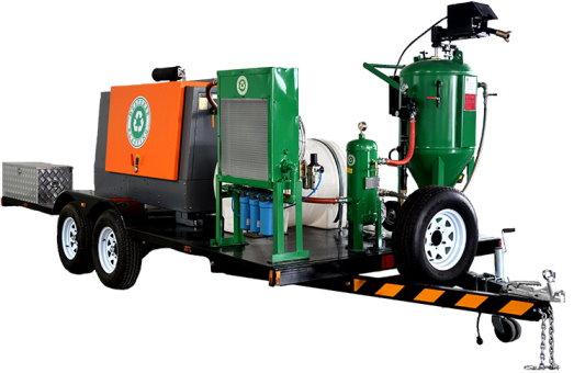 تجهیزات سندبلاست پرتابل بر روی یدک کامیون