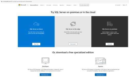 صفحه مربوط به دانلود SQL Server برای آموزش SQL Server Management Studio