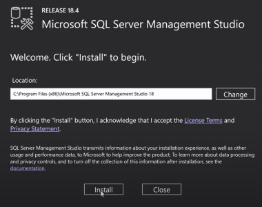 تصویر صفحه نصب SSMS در آموزش SQL Server Management Studio