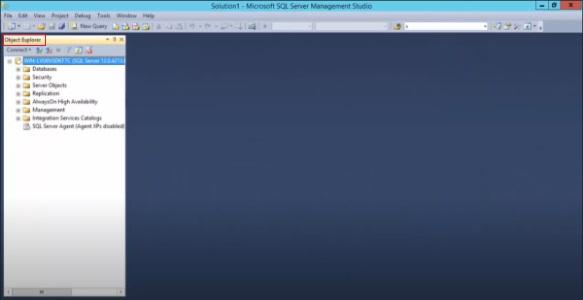 پنجره Object Explorer و نمای اولیه SSMS بعد از اتصال به سرور در آموزش SQL Server Management Studio