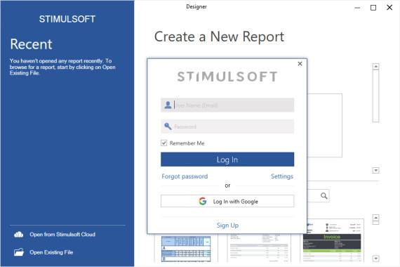نمای برنامه طراحی گزارش استیمول سافت در اولین اجرا پس از نصب | ورود به حساب کاربری استیمول سافت | ایجاد حساب کاربری استیمول سافت | آموزش استیمول سافت
