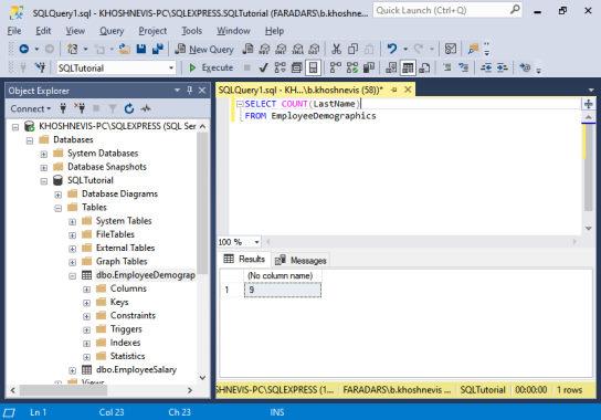 آموزش SQL Server Managment Studio | استفاده از COUNT در SSMS