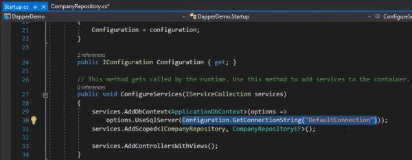 آموزش Dapper | استفاده از رشته اتصال در فایل Startup در پروژه ASP.NET
