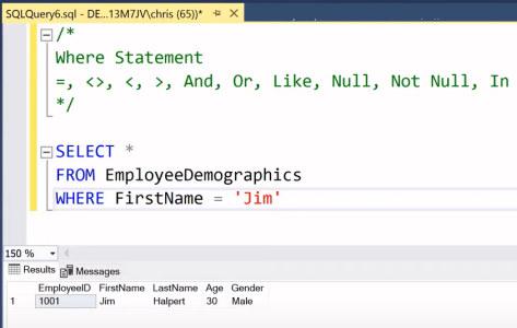 آموزش SQL Server Management Studio | گزاره WHERE در SSMS