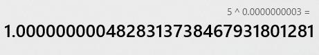 عدد به توان صفر در ماشین حساب
