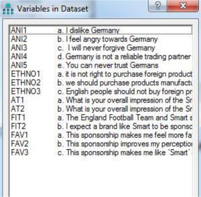 AMOS object variable list