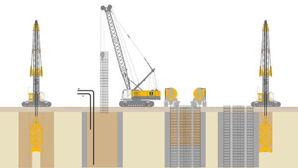 مراحل اجرای دیوار دیافراگمی