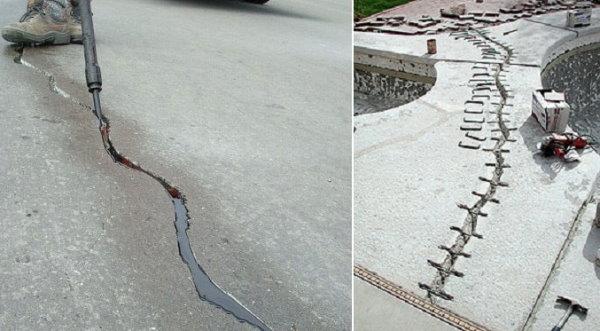 مقایسه دوخت (تصویر راست) با شیار و درزبندی (تصویر چپ)