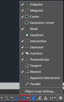 گزینههای قابلیت اسنپ در اتوکد