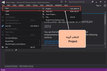 تصویر مربوط به مرحله اول آموزش اجرای برنامه Hello World با ASP.NET در Visual Studio برای مقاله آموزش AJAX در MVC | راهنمای رایگان به کارگیری AJAX در ASP .NET MVC