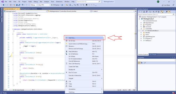 افزودن یک نما برای نمایش Hello World در مرورگر برای مثال ASP.NET MVC برای مقاله آموزش AJAX در MVC | راهنمای رایگان به کارگیری AJAX در ASP .NET MVC