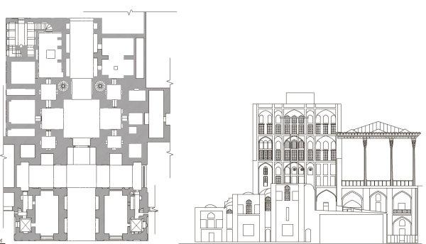 نقشه کاخ عالی قاپو (پلان دید از رو به رو و دید از بالا)
