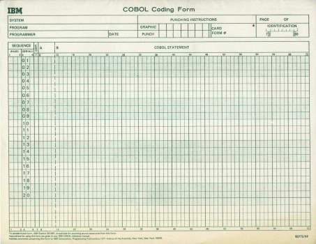 فرم کدنویسی COBOL که نشان می دهد نوشتن کدها در ستون های صحیح در زبان برنامه نویسی COBOL اهمیت دارند.