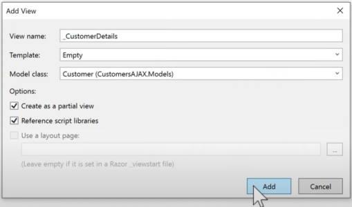 ایجاد باکس جزئیات مشتری در آموزش AJAX در MVC | راهنمای رایگان به کارگیری AJAX در ASP .NET MVC