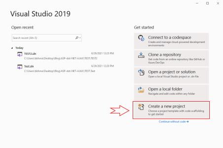 ایجاد پروژه جدید در Visual Studio 2019 برای مثال Hello World با ASP.NET MVC در مقاله آموزش AJAX در MVC | راهنمای رایگان به کارگیری AJAX در ASP .NET MVC