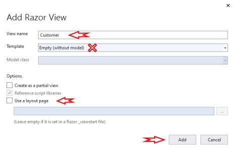 تصویر مربوط به تنظیمات افزودن نما برای پروژه آموزش Ajax در MVC