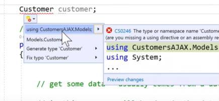 شامل کردن گزارههای Using برای ارتباط با مدل