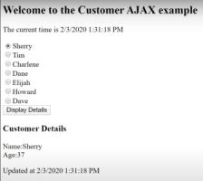تصویر خروجی پروژه که نشان میدهد قسمت جزئیات مشتریان اضافه شده است. آموزش Ajax در MVC