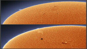 عبور ایستگاه های فضایی از مقابل خورشید — تصویر نجومی
