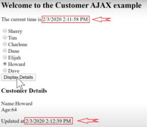 خروجی پروژه نمونه در آموزش AJAX در MVC