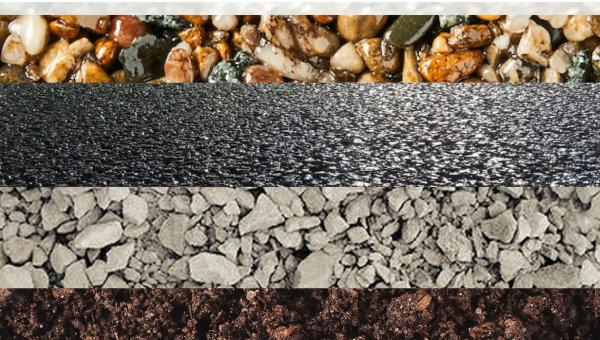 نمایی از انواع سنگدانههای مورد استفاده در زیرسازی و روسازی جاده