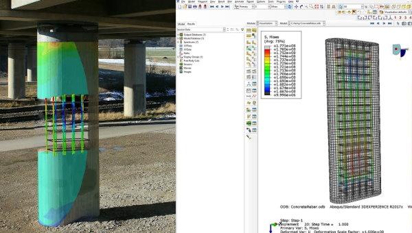 نمونهای از تحلیل ستون بتن آرمه مدلسازی شده در محیط نرم افزار آباکوس
