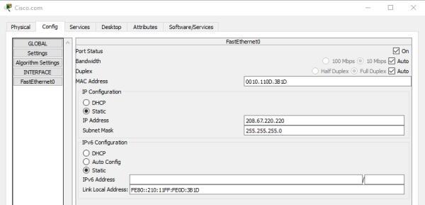 تنظیمات واسط FastEthernet سرور Cisco.com در مثال شبکه ساده آموزش نرم افزار Cisco Packet Tracer