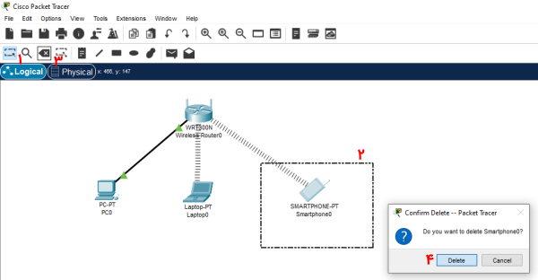 تصویر مربوط به حذف یک دستگاه از شبکه در پکت تریسر | آموزش نرم افزار Cisco Packet Tracer