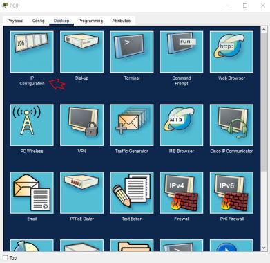 تصویر سربرگ Desktop در تنظیمات یک PC در پکت تریسر | آموزش نرم افزار Cisco Packet Tracer