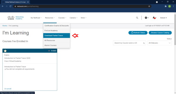 تصویری از صفحه مربوط به دانلود نرم افزار Cisco Packet Tracer در مقاله آموزش نرم افزار Cisco Packet Tracer