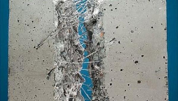 نمایی از داخل یتن مسلح شده با الیاف فولادی