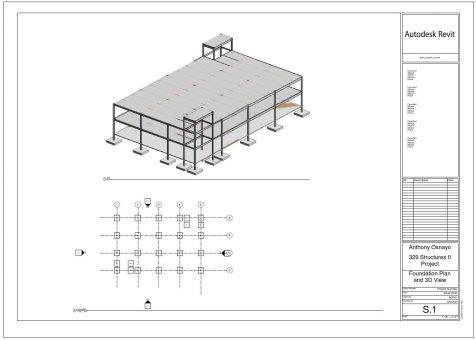 نمونهای از مدل سه بعدی ساختمان و پلان فونداسیون آن در نرم افزار رویت