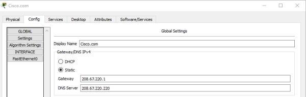 تنظیمات Global سرور Cisco.com در مثال یک شبکه ساده برای آموزش نرم افزار Cisco Packet Tracer