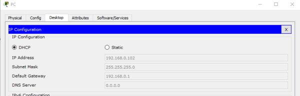 تنظیمات IP برای PC در مثال یک شبکه ساده برای آمزوش نرم افزار Cisco Packet Tracer