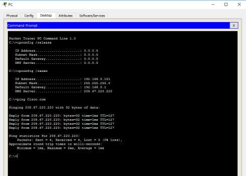 تصویر مربوط به پینگ کردن سرور در برنامه پکت تریسر جهت آزمایش برقراری اتصال از PC به سرور در آموزش نرم افزار Cisco Packet Tracer