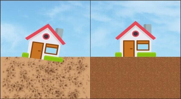 تفاوت وضعیت ساختمانی با تراکم خاک فونداسیون (تصویر راست) و بدون تراکم خاک فونداسیون (تصویر چپ)