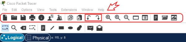تصویر مربوط به محل دکمه های Undo و Redo در نرم افزار پکت تریسر | آموزش نرم افزار Cisco Packet Tracer