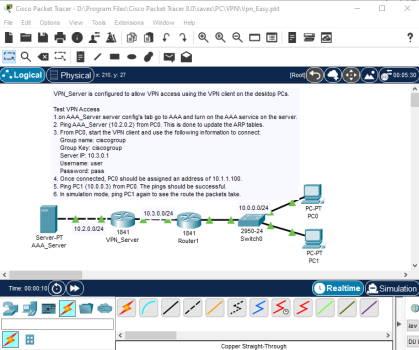 تصویر مربوط به باز کردن آزمایشگاه نمونه از پیش ساخته شده VPN-Easy در پکت تریسر | آموزش نرم افزار Cisco Packet Tracer