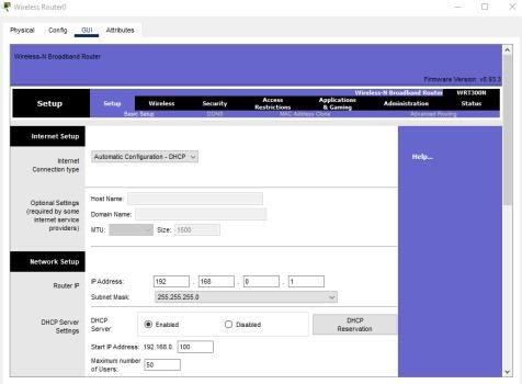 تصویر مربوط به سربرگ GUI در تنظینات روتر وایرلس برنامه سیسکو پکت تریسر | آموزش نرم افزار Cisco Packet Tracer