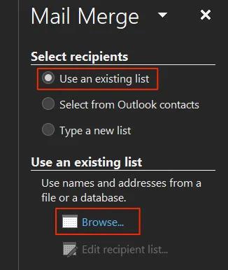 آموزش میل مرج در ورد - گزینه Use an Existing List