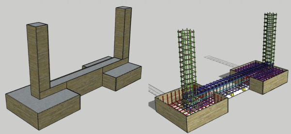 نمای سه بعدی از نحوه قرارگیری المانهای بتن مسلح فونداسیون منفرد (پی، شناژ و ستون)