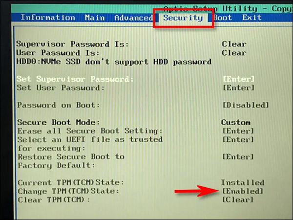 نصب ویندوز 11 - TPM در UEFI