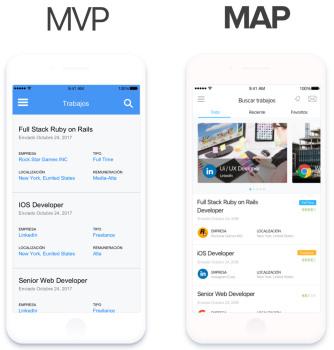 در این تصویر دو مفهوم MAP و MVP به صورت بصری ارائه شده است   مقاله ایده برای برنامه نویسی و ساخت اپلیکیشن